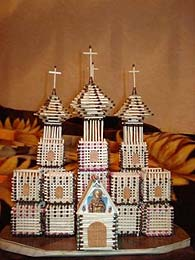 Temple made from matches