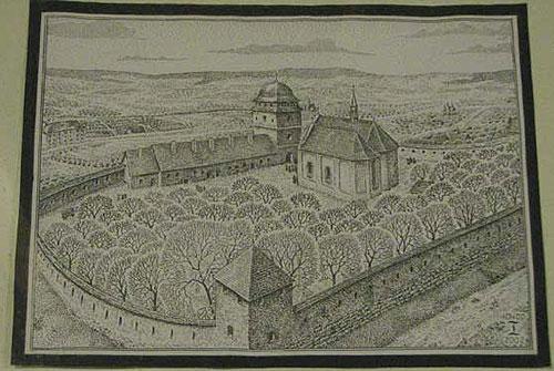 Загальний вигляд монастиря св.Онуфрія, гравюра cередина 17 ст. Світлина Т.Гринчишина