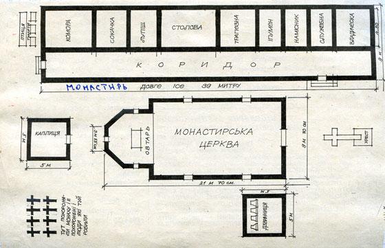 План Боронявського монастиря у 1948 році. Архів Боронявського монастиря