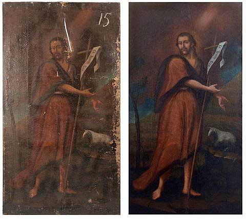 Ікона до і після реставрації