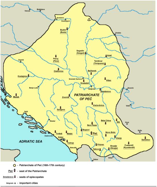 Межі Печського патріархату в XVI-XVII століттях