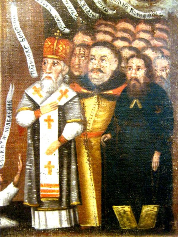 Фрагмент ікони XVII ст. з Національного музею у Львові, на якій Собеський і Шумлянський зображені поруч