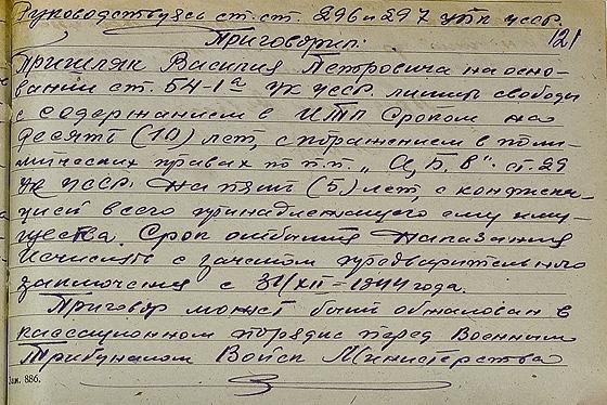 Вирок у справі о. Василя Пришляка. Джерело: ГДА СБУ