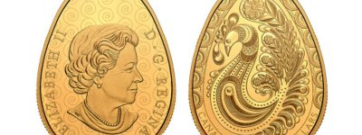 A coin in the shape of a Ukrainian Easter egg with a portrait of the British Queen released in Canada