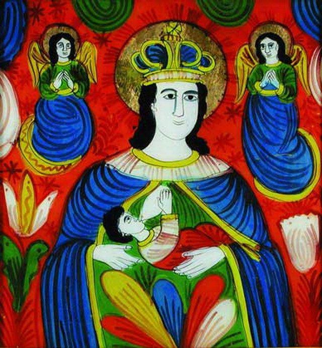Богородиця Годувальниця, ікона на склі, початок ХХ ст. - фото 51207